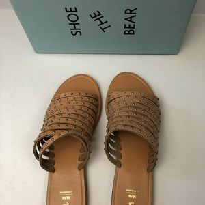 Shoe the Bear Strappy Leather Studded Sandals NIB